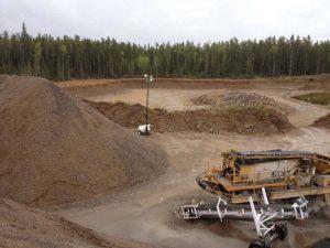 gravel, rocks, dirt piles